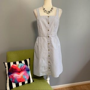 J Crew Striped Seersucker Button Front Dress C3
